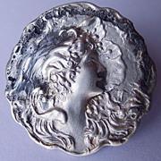 Antique Art Nouveau Sterling Silver Front Brooch Woman's Face Circa 1900