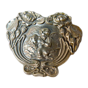 Large Antique Silver Art Nouveau Woman & Cherub Brooch - Circa 1910