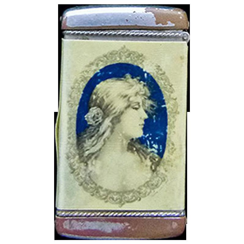Antique Advertising Match Safe (Vesta) Woman - Circa 1890