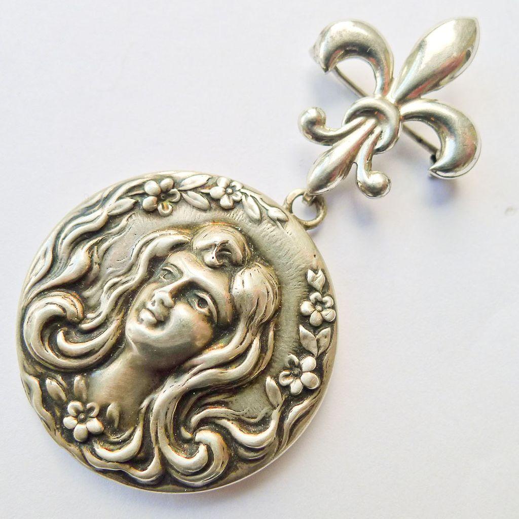 Beautiful Antique Sterling Silver Art Nouveau Locket & Watch Pin Set - Circa 1900