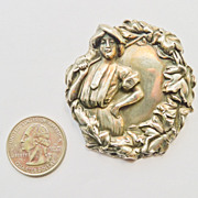 Beautiful Huge Antique Art Nouveau Brooch - Lady Golfer - Sterling Top - Circa 1900