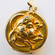 Small Antique Art Nouveau Gold Filled Locket - Circa 1900