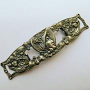 Huge Beautiful Antique Art Nouveau Belt Buckle - Silver Plated Brass - Circa 1900