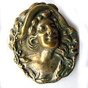 Antique Art Nouveau Brass High Relief Silver Plated Brass Brooch - Woman - Circa 1910