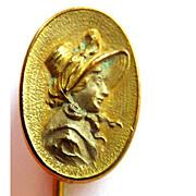Antique Stick Pin Art Nouveau Gold Filled Woman - Bonnet  - Circa 1900