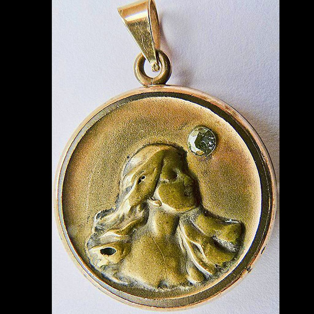 Antique Art Nouveau Locket - Gold Filled and 10kt Gold - Circa 1900