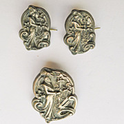 Antique Silver Top Art Nouveau Brooches - Matched Set of 3 - 2 Smaller and 1 Large Brooch - Circa 1900