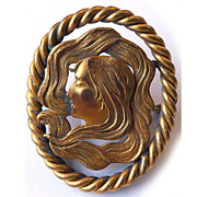 Large Antique Art Nouveau Brass Face of Woman Brooch - Circa 1900