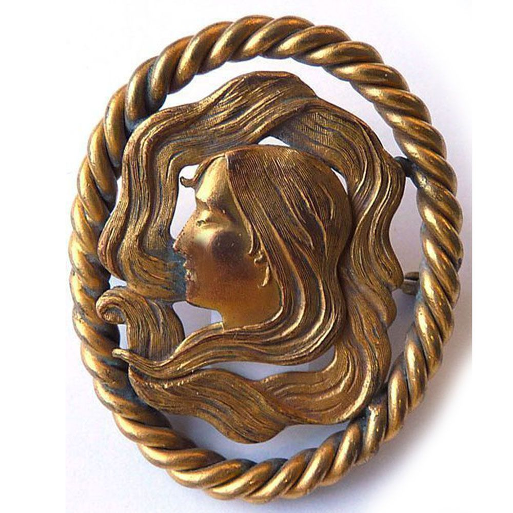Large Antique Art Nouveau Brass Face of Woman Brooch - Circa 1900
