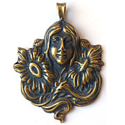 Large Vintage Gold Plated Sterling Silver Art Nouveau Pendant - Woman