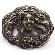Antique Art Nouveau Silver Plated Brooch - Woman - Circa 1900