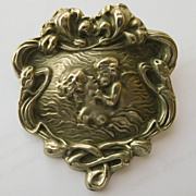 Huge Antique Art Nouveau Silver Brooch - Unger Bros Style Lovers Kiss - Circa 1900