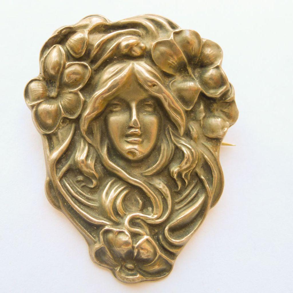 Antique Art Nouveau Sterling Top Huge Brooch - Circa 1900
