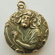 Sterling Silver Antique Art Nouveau Locket - Beautiful!! - Circa 1900