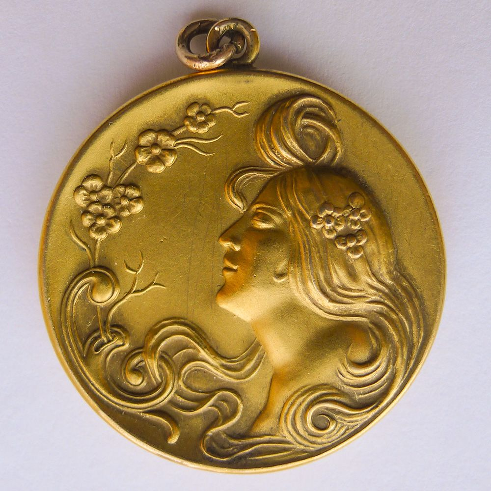 Large Antique Art Nouveau Gold Filled Pendant - Circa 1900