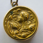 Small Antique Art nouveau Gold Filled & Diamond Locket - Beautiful - Circa 1900