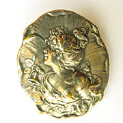Large Hallmarked Antique Art Nouveau Silver Plated Brooch - Circa 1900