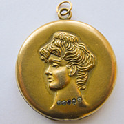 Antique Art Nouveau Large Gold Filled Locket - Circa 1900