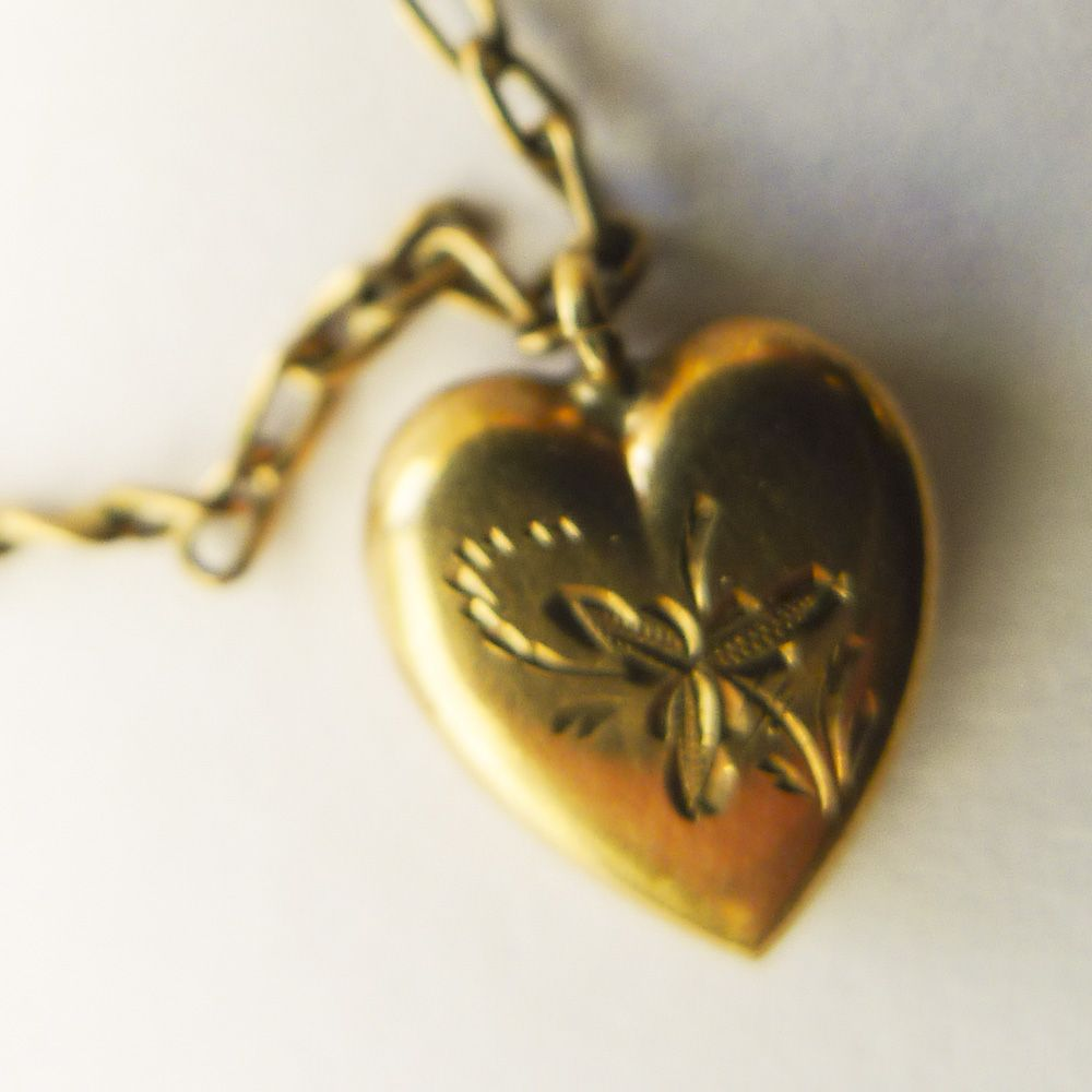 "Antique Tiny Gold Filled Child's Heart Shaped Pendant with 11"" Chain - Circa 1900"