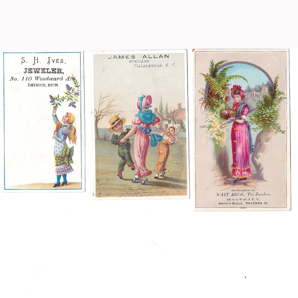 Jewelry Store Antique Advertising Cards (3) Circa 1900