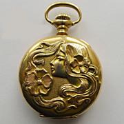 Pocket Watch 14kt Gold - Ladies Antique Art Nouveau - Waltham - Circa 1900