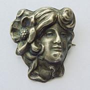 Brooch - Antique Sterling Silver Art Nouveau - Circa 1900