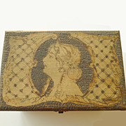 Arts & Crafts Art Nouveau Design Burnt Wooden Storage Box - Circa 1900