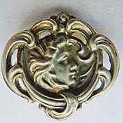 """Sterling Top"" Brooch - Small Antique Art Nouveau  - Beautiful Circa 1900"