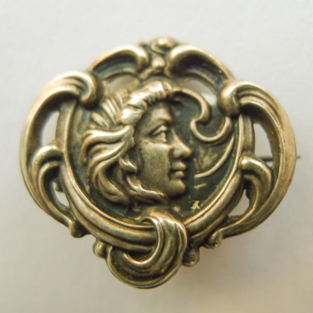 Brooch - Sterling Silver Front Antique Art Nouveau - Pristine - Circa 1900