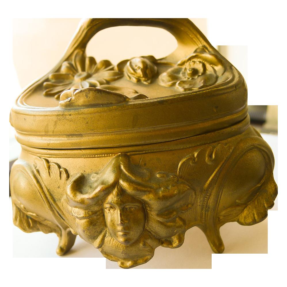 Jewelry Box - Antique Gold Plated Art Nouveau - Circa 1900
