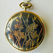 Pocket Watch French Sterling Silver Niello & 18kt Gold Antique Lohengrin Art Nouveau  - Dated 1910