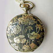 Diamond Longines Pocket Watch - Antique Sterling Silver Art Nouveau Niello Enameled - Circa 1900