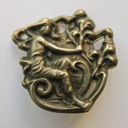 Brooch - Antique Sterling Silver Top Art Nouveau - Circa 1900