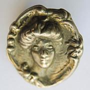 Brooch - Antique Sterling Silver Top Art Nouveau - Circa 1900