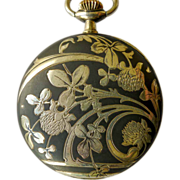 Longines Pocket Watch - Antique Sterling Silver Art Nouveau Niello Enameled - Circa 1900