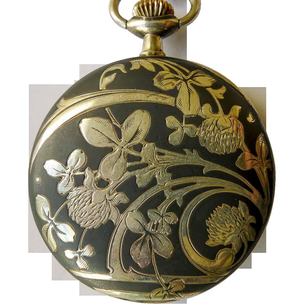Longines Pocket Watch - Antique Sterling Silver Art Nouveau Niello Enameled - Circa 1900