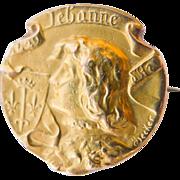 "Antique French Art Nouveau Joan of Arc Gold ""FIX"" Brooch - Circa 1900"