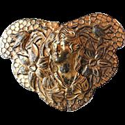 Brass Buckle Large Antique Art Nouveau Copper Plated- Circa 1910