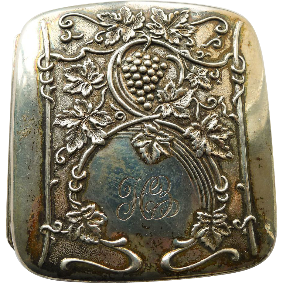 Art Nouveau Cigarette/Card Case Antique Sterling Silver Grapes Design - Circa 1900