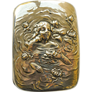 Art Nouveau Cigarette/Card Case Antique Sterling Unger Bros Woman in Water Design - Circa 1900