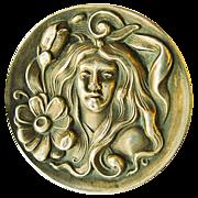 Large Antique Art Nouveau Sterling Silver Brooch - Circa 1900