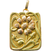 18kt Gold Two Tone Locket Antique Art Nouveau Rare Design - Circa 1900