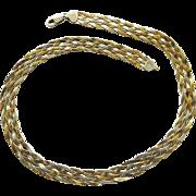 "Vintage Sterling Necklace - Magnificent 3 Tones - 18"" long"
