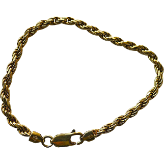 Vintage Italian Gold Plated Sterling Silver Chain Bracelet - 7.5""