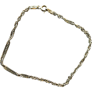 "Vintage Bracelet - Sterling Silver Twisted Cable Chain - 7"" long"