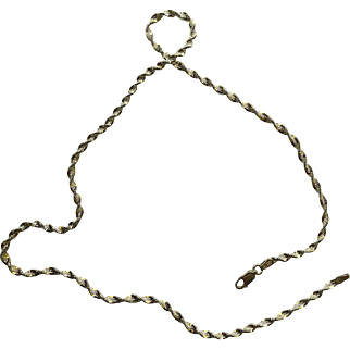 Vintage Neck Chain Sterling Silver .925 Two Tone Silver & Gold Twisted Herringbone  18.25''