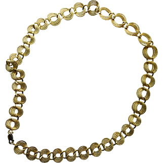 Vintage Sterling Silver Gold Plated Flat Textured Rings Necklace 20  inches long