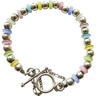 Vintage Bracelet - Sterling Silver Beads and hand made Glass Beads - 7.5 inch