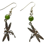 Vintage Earrings - Sterling Silver & Green Jade Dragon Fly