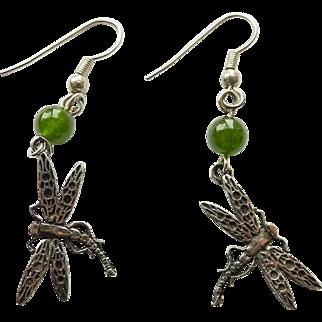 Vintage Earrings - Sterling Silver & Green Jade Dragon Fly